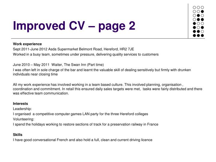 Improved CV – page