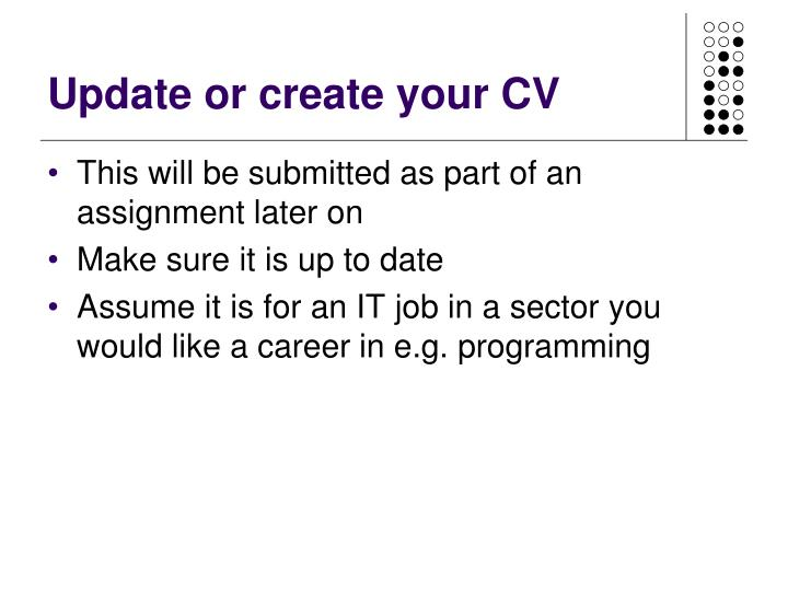 Update or create your CV