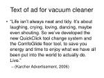 text of ad for vacuum cleaner