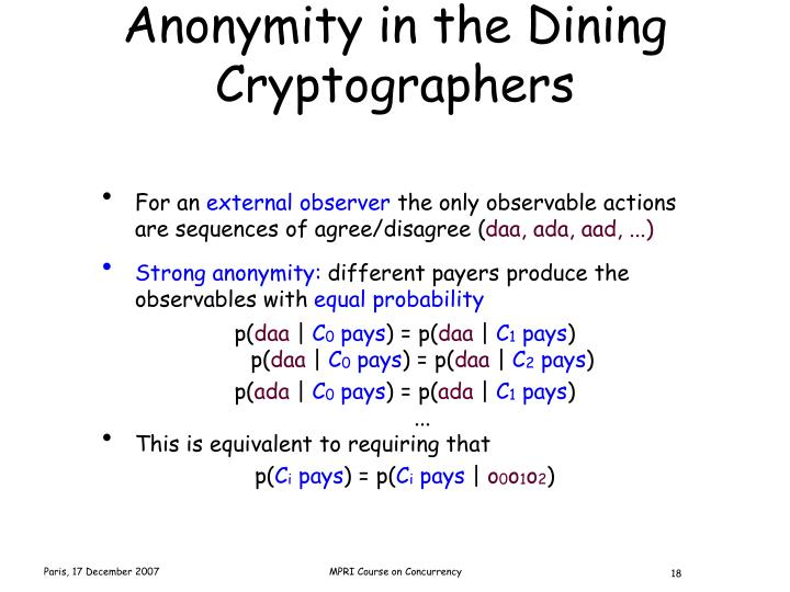 Anonymity in the Dining Cryptographers