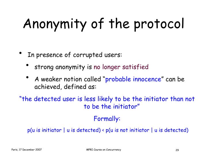 Anonymity of the protocol