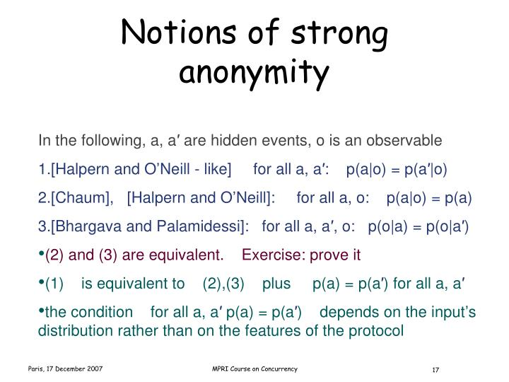 Notions of strong anonymity