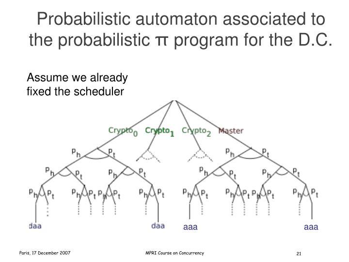 Probabilistic automaton associated to the probabilistic