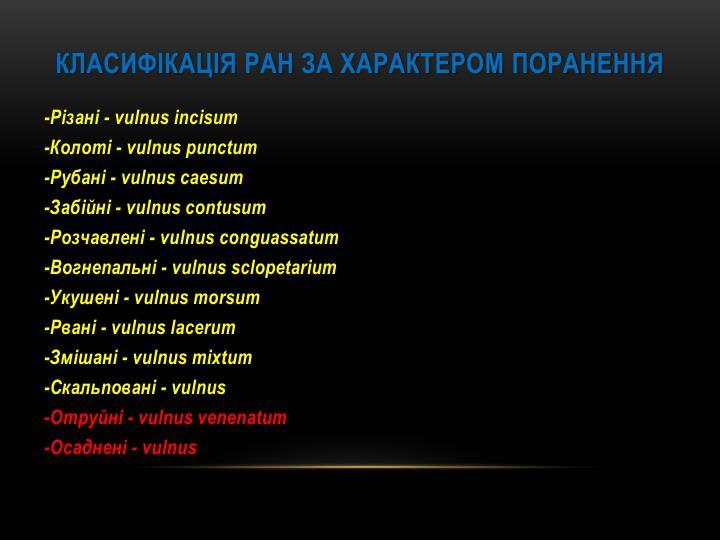 Класифікація ран за характером поранення