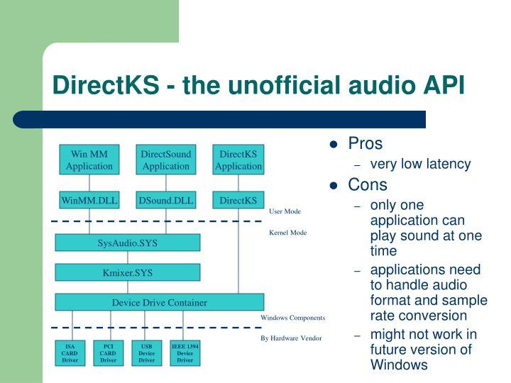 DirectKS - the unofficial audio API