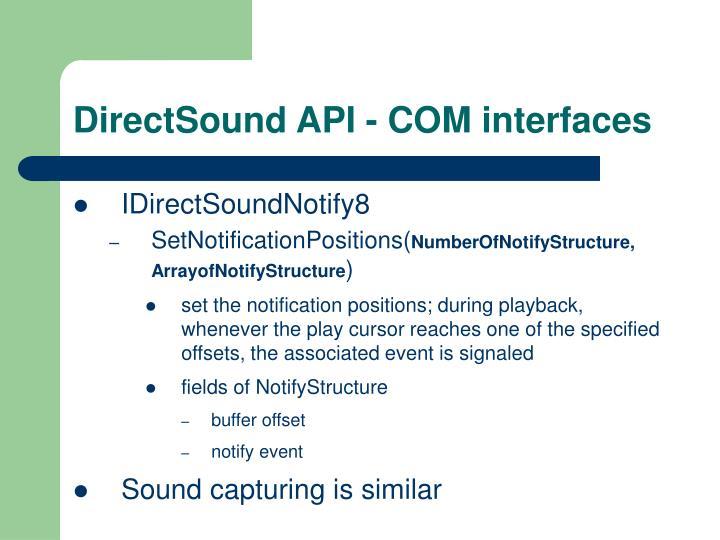 DirectSound API - COM interfaces