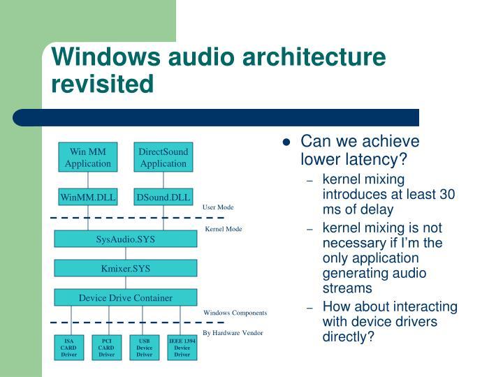 Windows audio architecture revisited