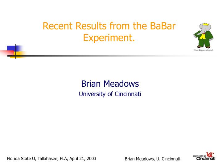 recent results from the babar experiment n.