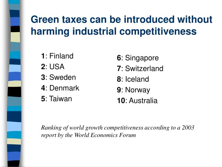 Green taxes can be introduced without harming industrial competitiveness