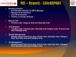 mis reports sanereport