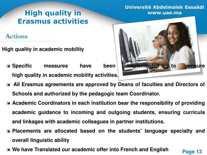 High quality in Erasmus activities