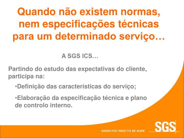 Quando não existem normas, nem especificações técnicas para um determinado serviço…