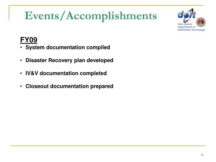 Events/Accomplishments