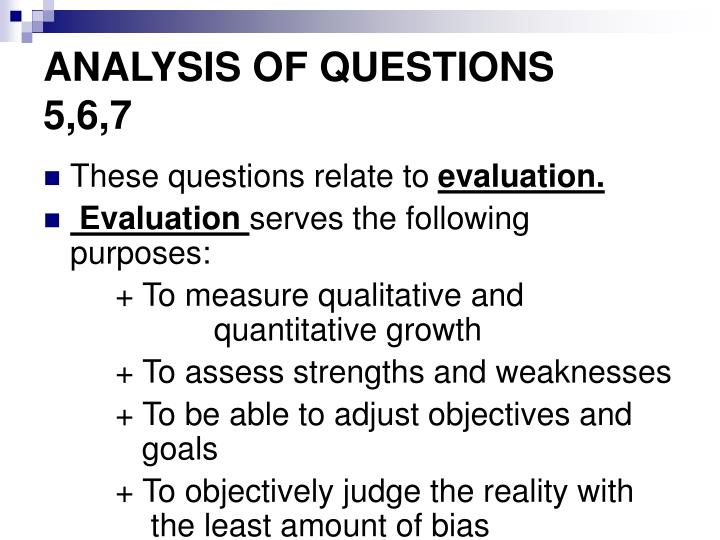 ANALYSIS OF QUESTIONS