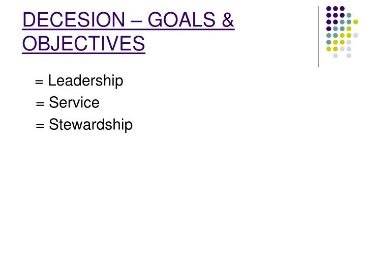 DECESION – GOALS & OBJECTIVES