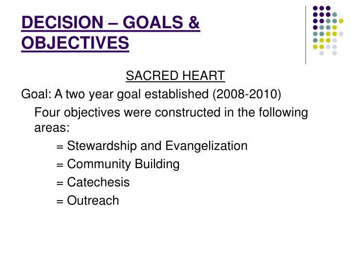 DECISION – GOALS & OBJECTIVES