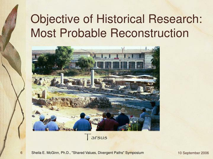 Objective of Historical Research: Most Probable Reconstruction