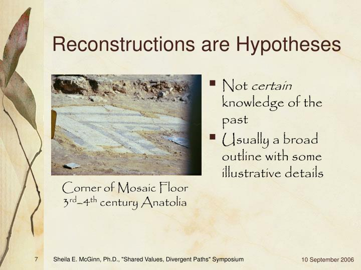 Reconstructions are Hypotheses