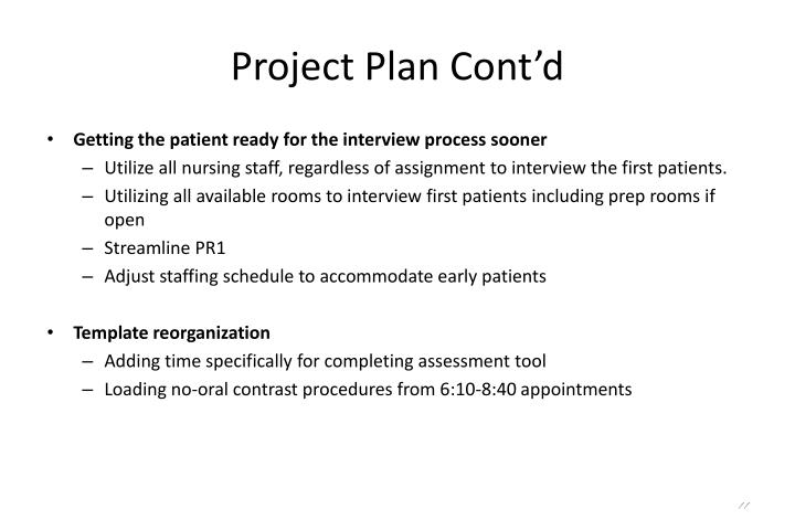 Project Plan Cont'd