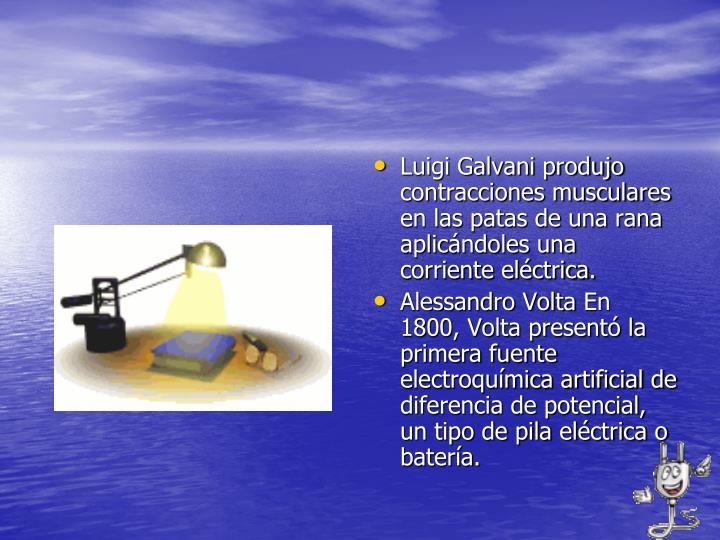 Luigi Galvani produjo contracciones musculares en las patas de una rana aplicándoles una corriente eléctrica.