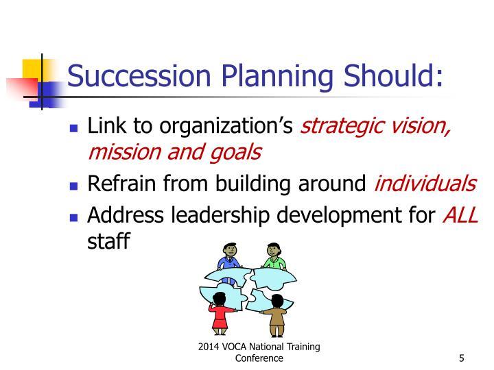 Succession Planning Should: