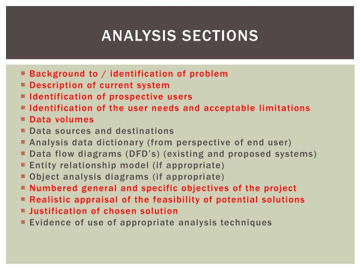 Analysis sections