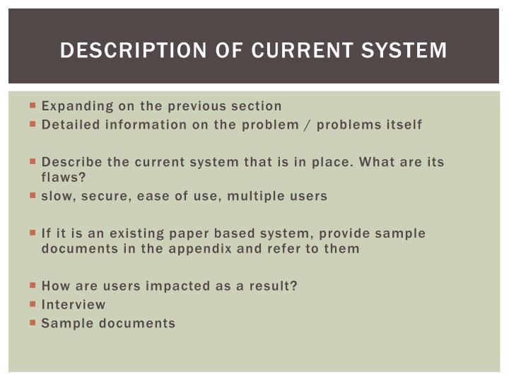 Description of current system