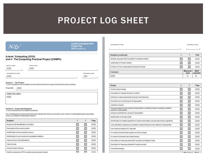 Project log sheet