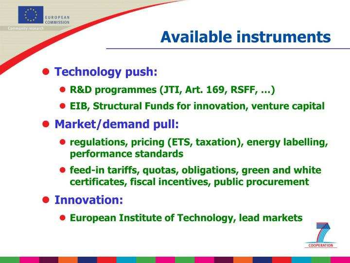 Available instruments