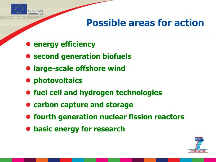 Possible areas for action