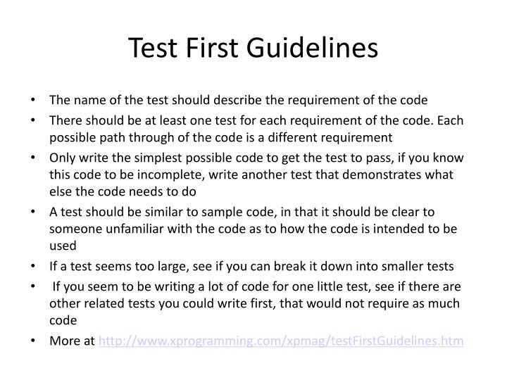 Test First Guidelines