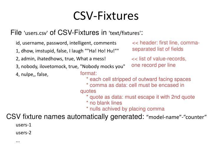 CSV-Fixtures