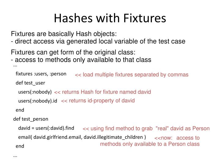 Hashes with Fixtures