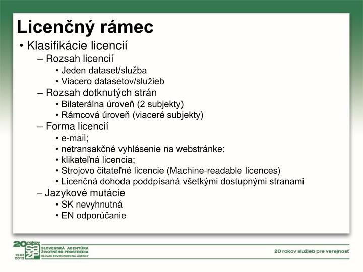 Licenčný rámec