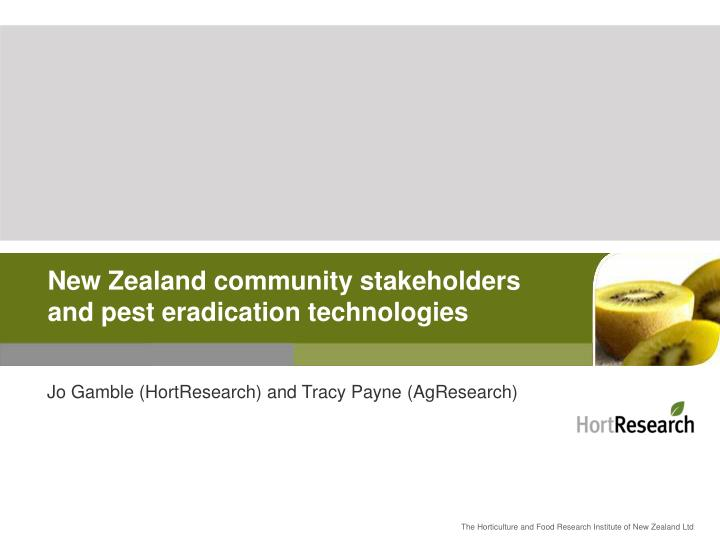 new zealand community stakeholders and pest eradication technologies n.