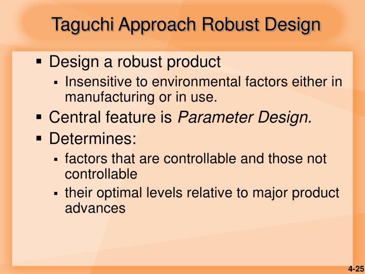 Taguchi Approach Robust Design
