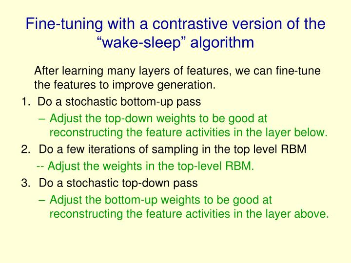 """Fine-tuning with a contrastive version of the """"wake-sleep"""" algorithm"""
