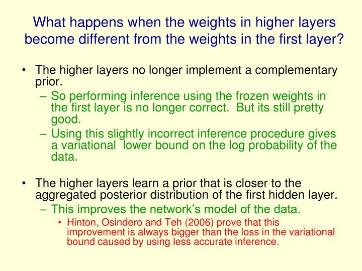 What happens when the weights in higher layers become different from the weights in the first layer?