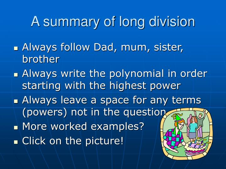 A summary of long division