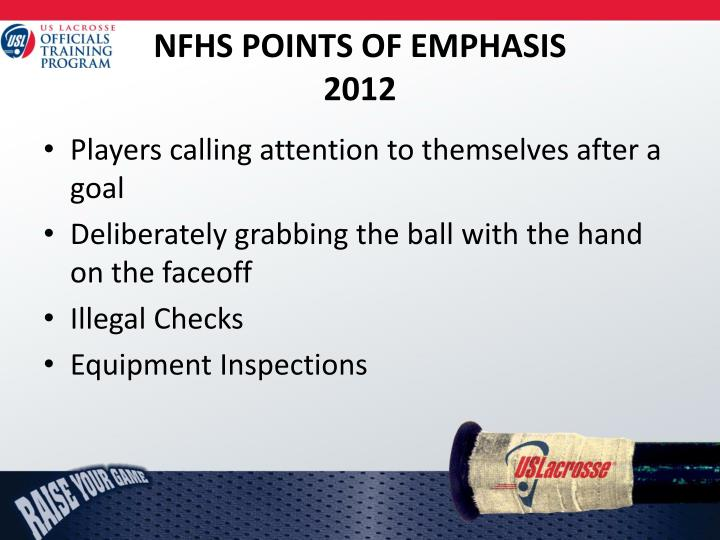 NFHS POINTS OF EMPHASIS