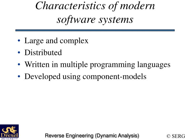 Characteristics of modern software systems