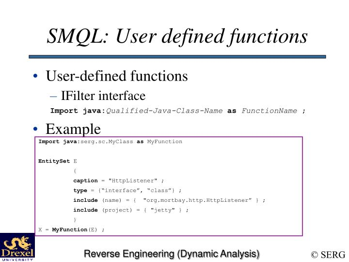 SMQL: User defined functions