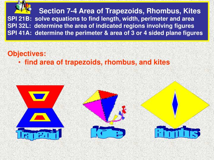 PPT - Objectives: find area of trapezoids, rhombus, and