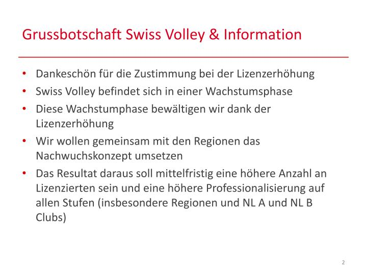 Grussbotschaft swiss volley information