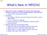 what s new in mpich2