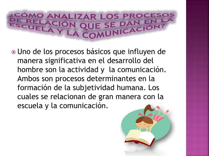 ¿Cómo analizar los procesos de relación que se dan en la escuela y la comunicación?