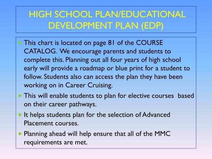 HIGH SCHOOL PLAN/EDUCATIONAL DEVELOPMENT PLAN (EDP)