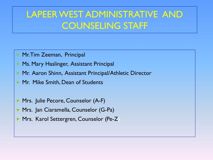 Lapeer west administrative and counseling staff
