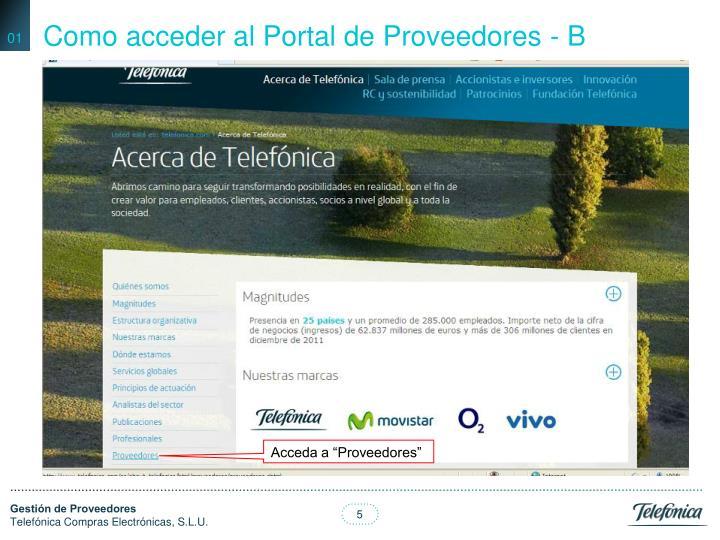 Como acceder al Portal de Proveedores - B