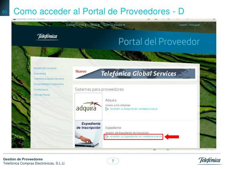 Como acceder al Portal de Proveedores - D
